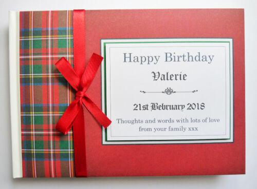 SCOTTISH THEME RED TARTAN PERSONALISED BIRTHDAY//RETIREMENT//WEDDING GUEST BOOK