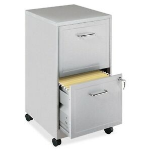 "Lorell 16873 2-Drawer Steel Mobile File Cabinet, 18""D, Locking Drawer, Silver"