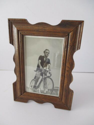 1950's OAK FRAMED PHOTO OF A RACING BIKE CYCLIST
