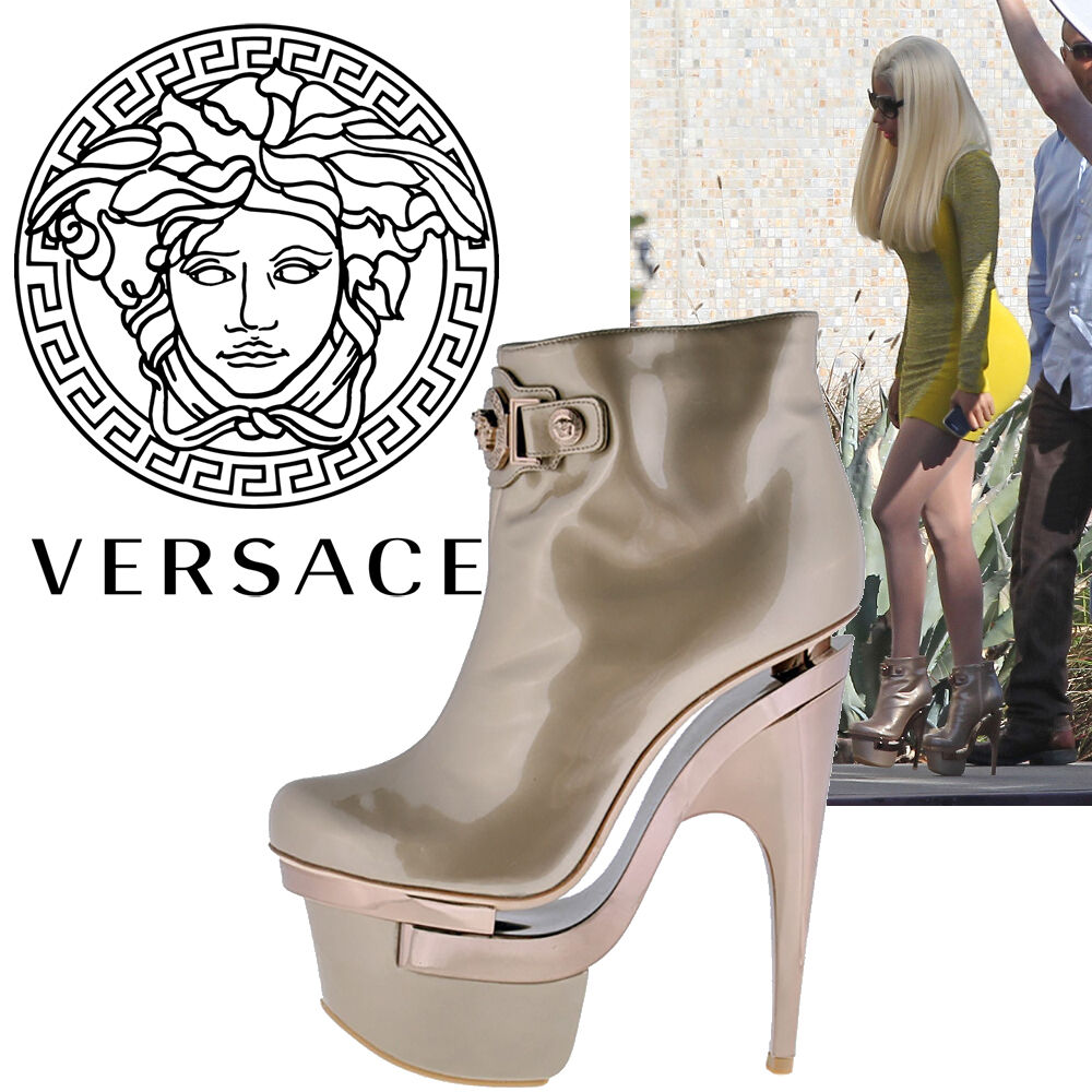 New VERSACE TRIPLE PLATFORM ROSE GOLD LEATHER BOOTIE BOOTS  36.6 - 6.5
