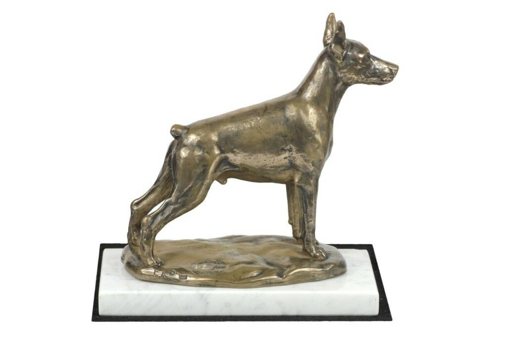 Doberman type 2 - figurine made of Cold Cast Bronze on the bianca marble, Art Dog