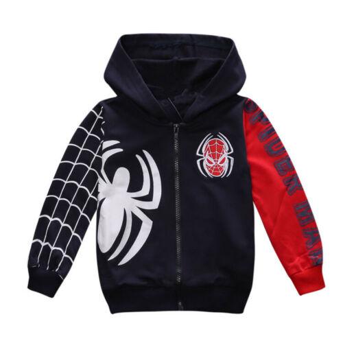 Kids Boys Zipper Spiderman Sweatshirt Hoodies Hooded Jacket Coat Tops Outwear
