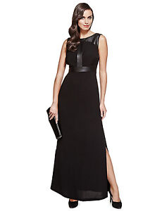 0237ee3c7da New M S Per Una Speziale Black Leather Trim Maxi Dress Sz UK 10