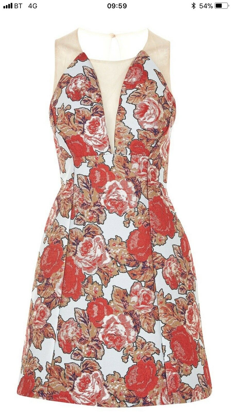 1e243f0b9016 Sold Out Topshop Jacquard Sheer Panel Dress UK Size 12 BNWT Prom Floral  ninaek21178-Dresses
