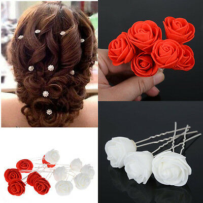 6X women beauty Small Rose Flower Hair Pins Wedding Bridal Flowers Accessory