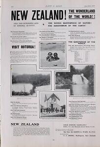 1903 PRINT NEW ZEALAND TRAVEL ADVERT ADVERTISEMENT MAORIES BATHING LAKE TE PUNA