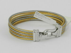 CHARRIOL-Women-039-s-Brilliant-Two-Tone-PVD-Stainless-Steel-Cable-Bangle-Bracelet-M