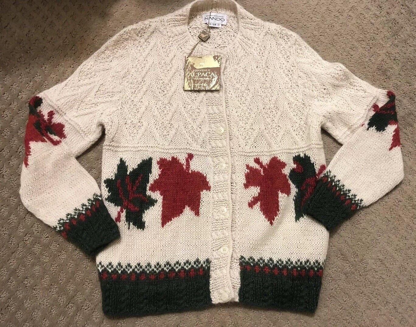 Nando Canadian Sweater Intarsia Hand Knit Knit Knit Cardigan 100% Alpaca Sz S NWT 7dcebe