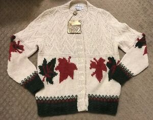 22447d9bc Image is loading Nando-Canadian-Sweater-Intarsia-Hand-Knit-Cardigan-100-