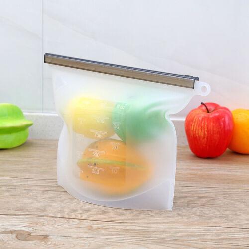 1000ml Bolsa De Alimentos De Silicona Reutilizable De Vacío Sellador Almacenamiento De Frutas Congelador containzb