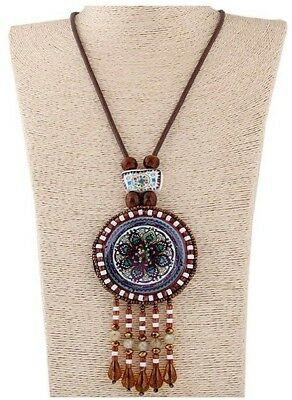 Brown Colour Long Bohemian Handmade Beaded Pendant Necklace with Tassels #B285