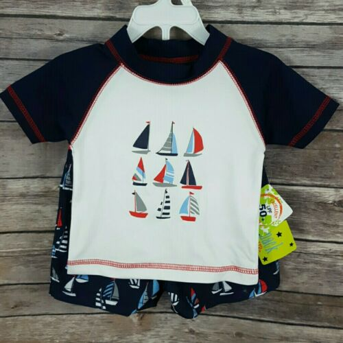 Swim Trunks Set UPF50+ Mick Mack Baby Boys 12M 18M 24M Sailboat Rash Guard
