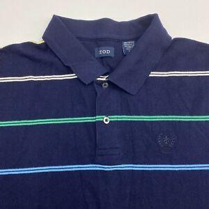 Izod Polo Shirt Men's Size 2XL XXL Short Sleeve Navy Striped Casual 100% Cotton