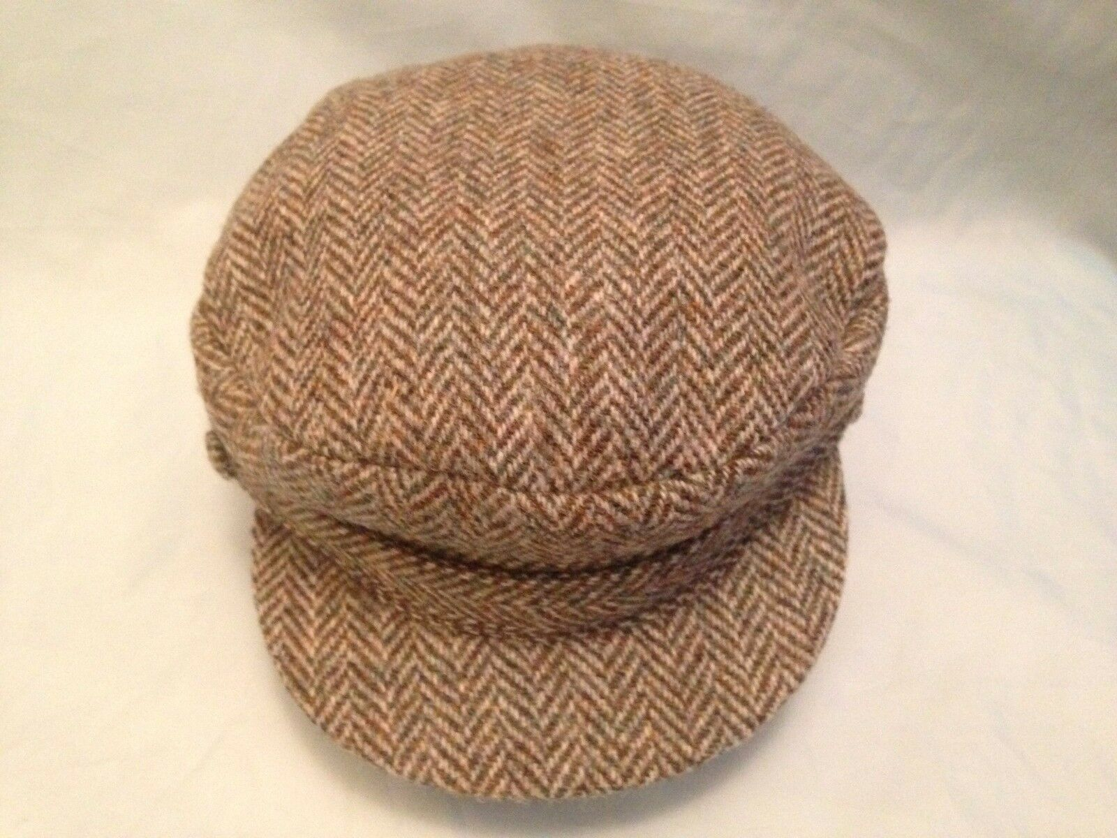 HARRIS TWEED GREEN HERRINGBONE BRETON SAILING BARGE FIDDLER  SAILOR CAP  best prices and freshest styles