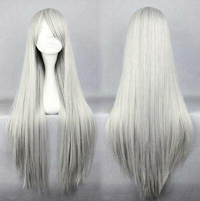 80cm Long Silky Straight Cosplay Party Fashion Wig heat resistant Hair Full Wigs