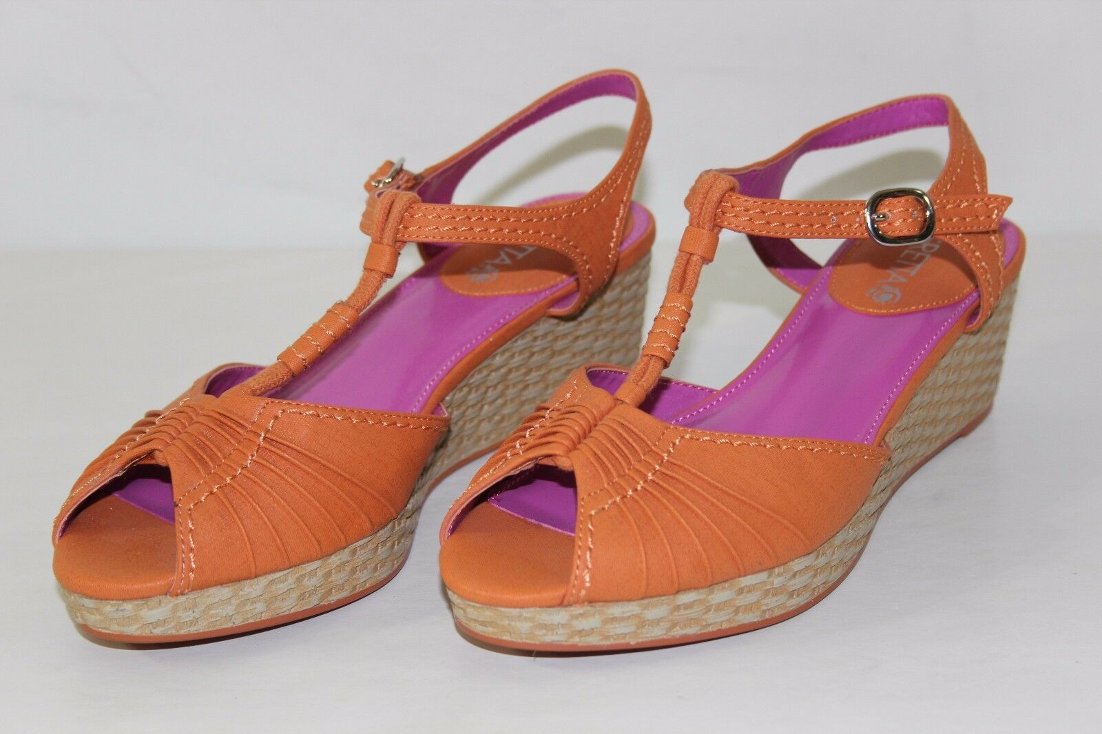 FREE SHIPPING Gretta Gateway Womens Sz 7 M orange Strappy Heels Wedges shoes NEW