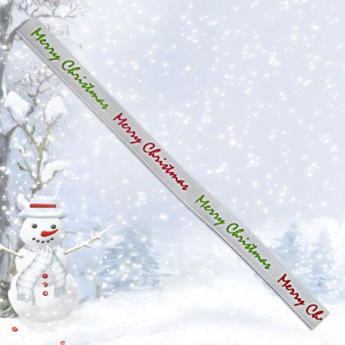 Cinta de la Navidad Blanco Con Rojo Y Verde Feliz Navidad ~ 5 yardas de 9 mm de ancho