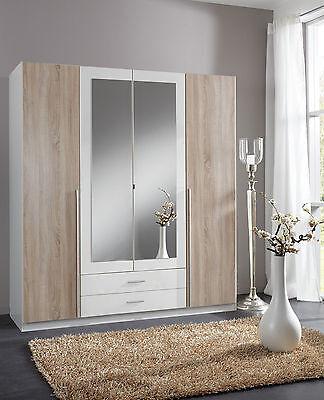SlumberHaus German Skate 4 Door & 2 Drawers White & oak & Mirror Door Wardrobe