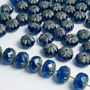 6pcs-Blue-Cathedral-Rondelle-Faceted-Czech-Glass-Beads-7x10mm-GB459