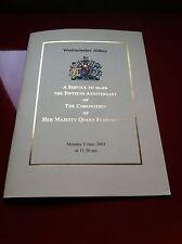 ORDER OF SERVICE PROG. CORONATION ANNIVERSARY OF HER MAJESTY QUEEN ELIZABETH II