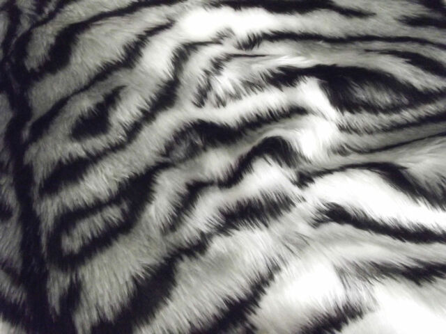 Animal Fun Faux Fur Fabric Material - SILVER GREY/WHITE TIGER