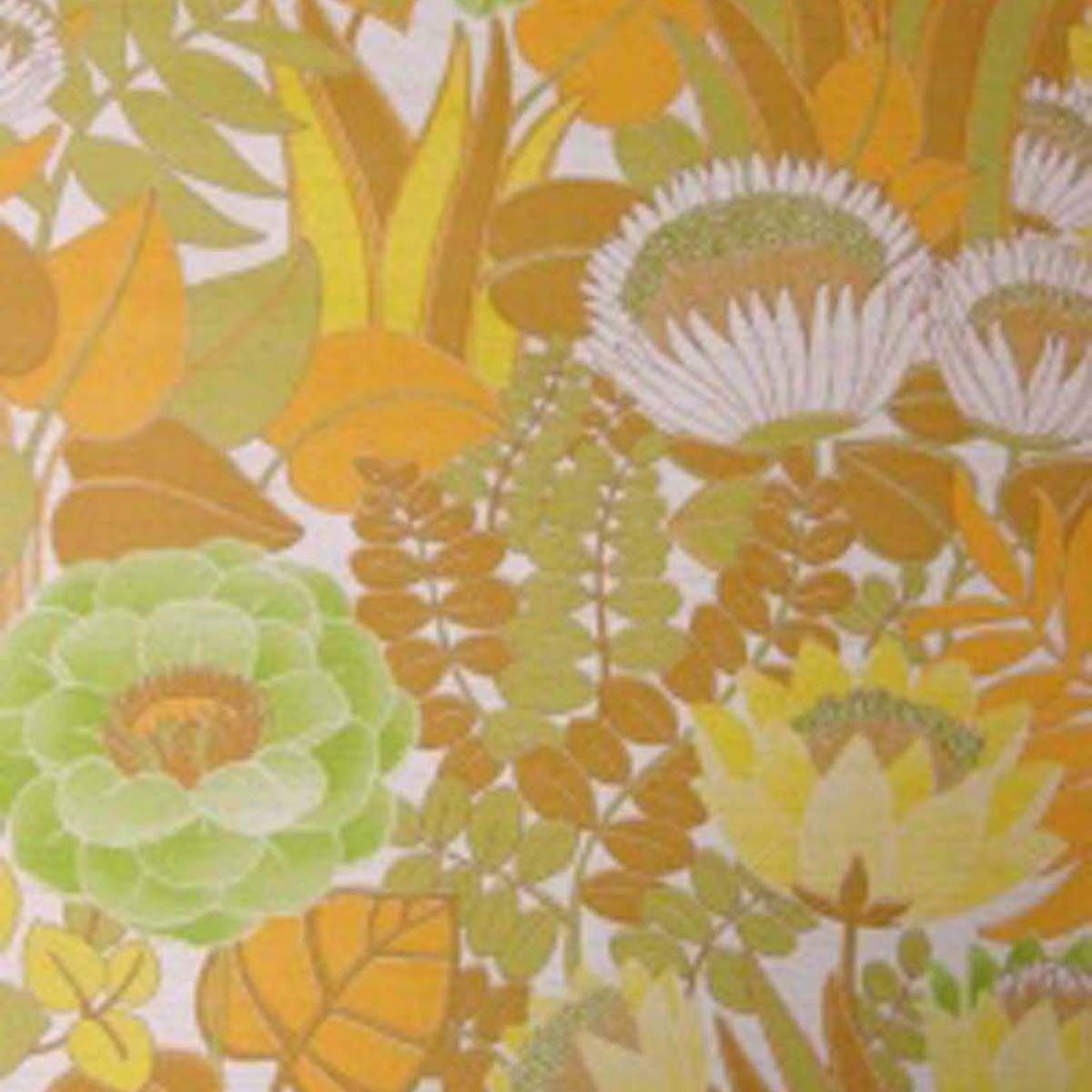 70s Mod Floral Vintage Original Wallpaper Misty Garden Mid