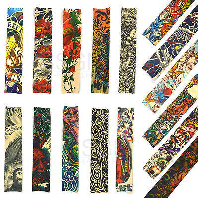 Fake Slip-on Tattoo Sleeves Art Dress Japan Carp Fish Dragon Rose Tiger Monster