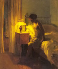 Oil painting peter vilhelm ilsted - in the bedroom beautiful young woman on bed