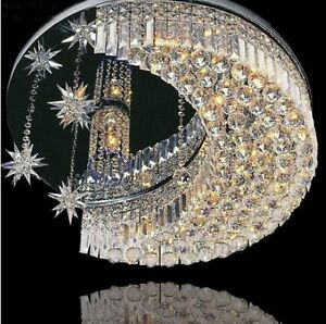 Details About K9 Crystal Moon Star Led Flush Mount Ceiling Light Chandeliers Lighting Fixture