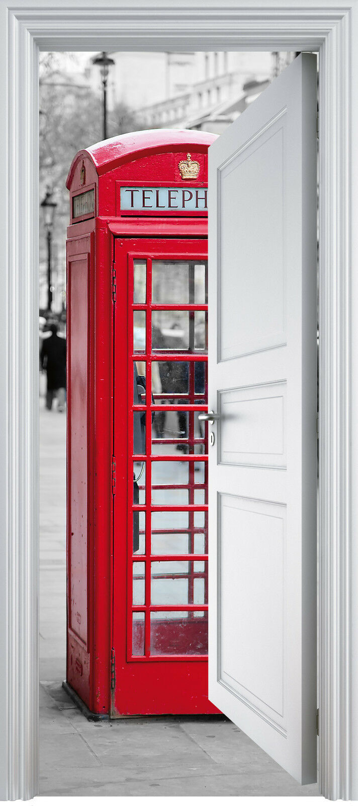 Adhesivo Puerta Trompa Trampantojo Cabina Telefónica 90x200 cm Ref 335