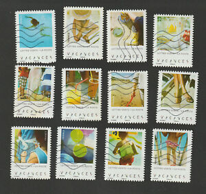Serie-complete-12-Timbres-France-Autoadhesifs-Vacances-2019