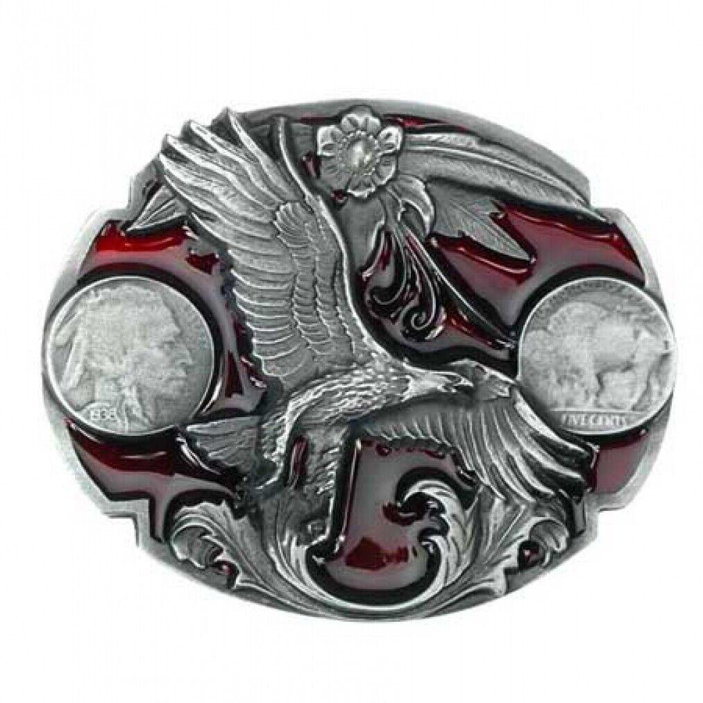 Western Buckle, Adler, Eagle, Indianer, Silbermünzen, Gürtelschnalle