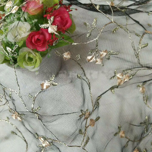 Floral Wedding Dress DIY Tulle Embroidery Corded Bridal Costume Lace Fabric 1 Y