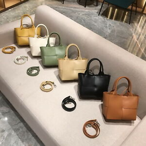 Small Real Leather Maxi Woven Tote Bag Crossbody Mini Purse Shoulder Bag 2 Pcs