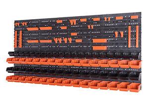 110-teiliges-SET-Lagersichtboxenwand-Stapelboxen-mit-Montagewand-Werkzeugwand
