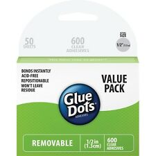 """Glue Dots 8388 .5"""" Removable Dot Sheets Value Pack 600 Clear Dots NEW"""