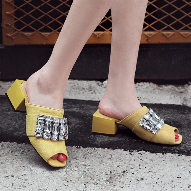 Women's Rhinestone Block Mid Heels Sandals Slippers Summer Peep Toe shoes Mules