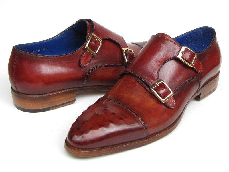 Paul Parkman Men's Double Monkstrap Burgundy Leather Ostrich Embossed  shoes