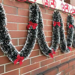 2x-200cm-Christmas-Tinsel-Garland-Luscious-Xmas-Snow-Tips-Holly-Dark-Green-White