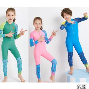 Full Long Sleeve Swimwear Diving Bathing Suit Kids Girls Boys One