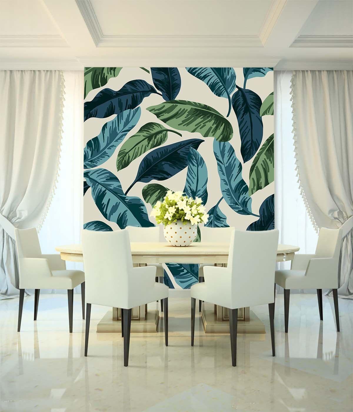 3D Leaves Painted 824 Wallpaper Mural Paper Wall Print Wallpaper Murals UK Lemon