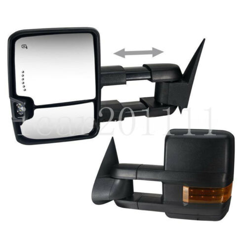 For 07-13 Silverado Power Tow Mirror Heated w//LED Turn Signal Backup Lamp BLACK