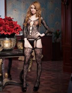 ca86e03185 Image is loading Black-Floral-Lace-Teddy-amp-Stockings-Style-Bodystocking-