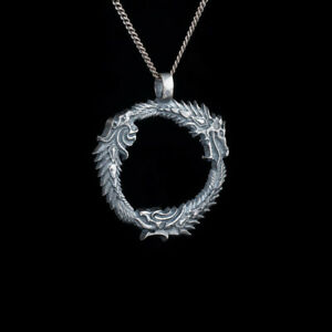 Details about Skyrim Uroboros Pendant, silver-plated brass, handmade
