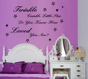 twinkle twinkle little star quote wall art kids baby nursery sticker