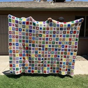 Vintage-Granny-Square-Afghan-Handmade-Crochet-Blanket-82-x-64-Multi-Color-White