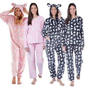 66efee805a Ladies Ruby Rabbit Bunny Soft Flannel Fleece Onesee   Pyjamas Twosie ...