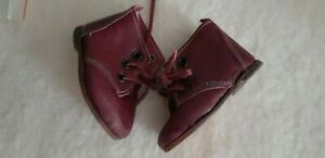 Red-Brown-Leder-Boots-Shabby-Handarbeit-2-13-16in-Sole-Length-F-Bear-or-Doll
