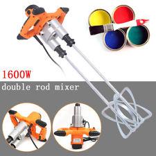 Double Paddle 1600w Mixer Drill Paint Glue Cement Tile Grout Plaster 1600 Watt