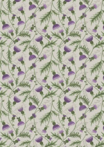 LEWIS /& IRENE CELTIC COORIE ALL OVER THISTLE ON CREAM 100/% COTTON A415.1